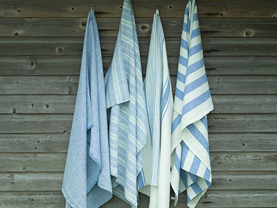 Striped Blue Linen Towels - LinenMe